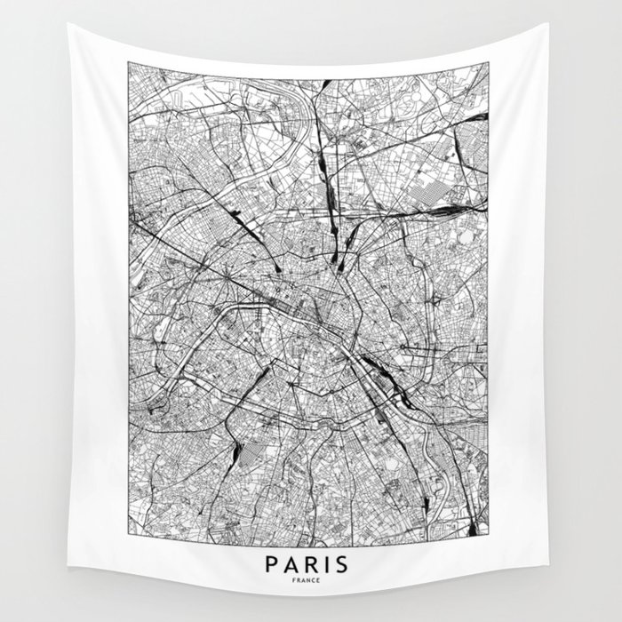 Paris White Map Wall Tapestry
