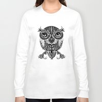 egyptian Long Sleeve T-shirts featuring Baby Egyptian Owl by Rachel Caldwell