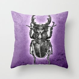 Purple stag beetle Throw Pillow