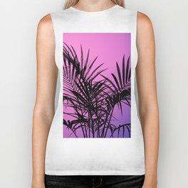 Palm tree in black with purplish gradient Biker Tank