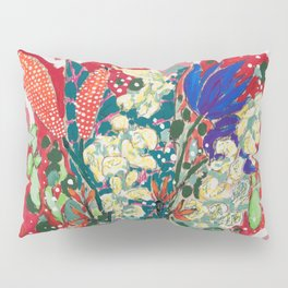 Wild Flowers in Flamingo Vase Floral Painting Pillow Sham