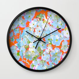 CUMIN ORANGE COLOR & WHITE LACE FLORAL GARDEN Wall Clock