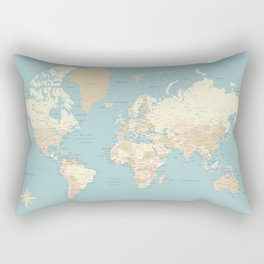 "Cream, brown and muted teal world map, ""Jett"" Rectangular Pillow"