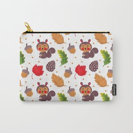Brown red Autumn floral happiness squirrel polka dots Carry-All Pouch