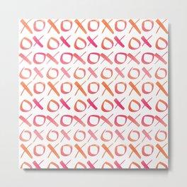 xoxo Watercolor Pink Orange Metal Print