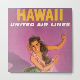 Vintage Hawaiian United Air Lines 1960s Hawaii Travel Poster with Hawaiian Hula Girl Metal Print