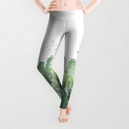 Seattle Watercolor Painting Leggings