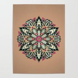 Tribal Geometric brown and green Mandala Poster