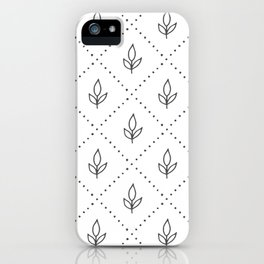 Modern geometrical hand painted diamond floral polka dots iPhone Case