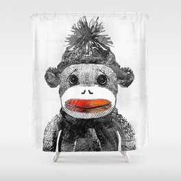 Sock Monkey Art In Black White And Red - By Sharon Cummings Shower Curtain