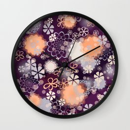 Lacy Flowers Seamless Repeating Pattern Wall Clock