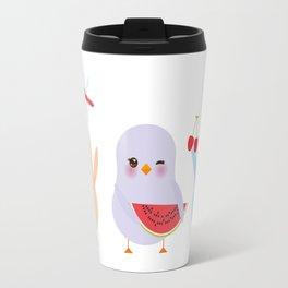 Kawaii blue green orange pink yellow chick with pink cheeks and winking eyes, pastel colors Travel Mug