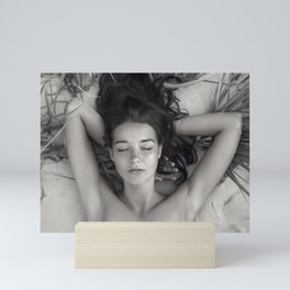Serenity and quiet female form nude black and white photograph / art photography Mini Art Print