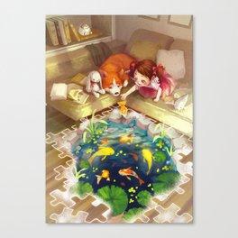 Puzzles of Imagination: Koi Pond Canvas Print