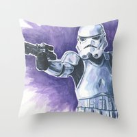 stormtrooper Throw Pillows featuring Stormtrooper by KristinMillerArt