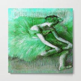 The Dancer by Edgar Degas Green Metal Print
