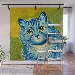 BLUE CAT - Louis Wain Art Wall Mural