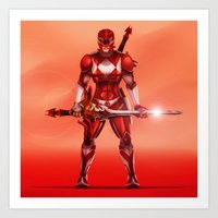 power ranger Art Prints featuring Red Ranger by Isaiah K. Stephens