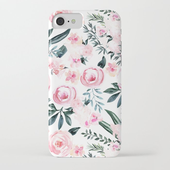 Floral Rose Watercolor Flower Pattern iPhone Case