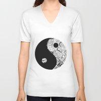 yin yang V-neck T-shirts featuring yin yang by martiirod
