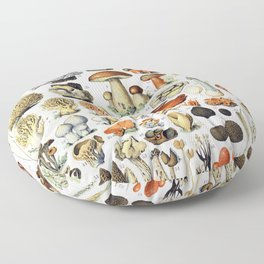Adolphe Millot - Champignons A - French vintage poster Floor Pillow
