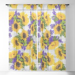 Rustic white wood purple yellow sunflower floral Sheer Curtain