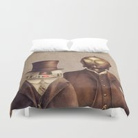 victorian Duvet Covers featuring Victorian Robots  by Terry Fan