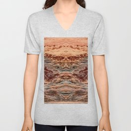 Red and Blue Tinted Terrain 1 Unisex V-Neck