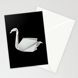 White origami swan Stationery Cards