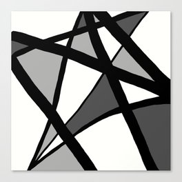 Geometric Line Abstract - Black Gray White Canvas Print