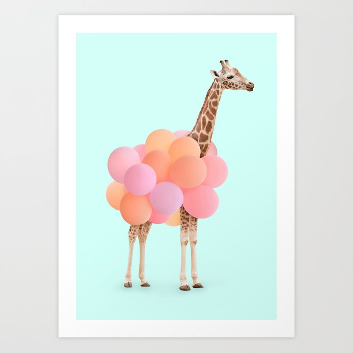 GIRAFFE PARTY Art Print