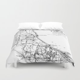 Vintage Map of The Chicago Railroad Network (1913) Duvet Cover