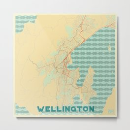 Wellington Map Retro Metal Print