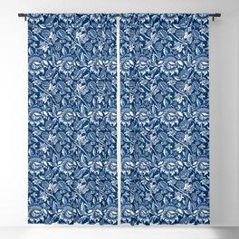 William Morris Sunflowers, Dark Blue and White Blackout Curtain