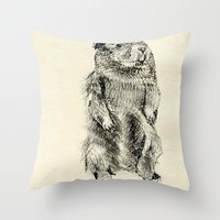 beaver Throw Pillows featuring Beaver by Amy Veried