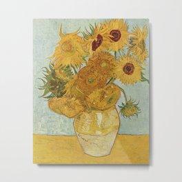Vase with Twelve Sunflowers, Van Gogh Metal Print