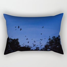 Night flight of the birds in the forest Rectangular Pillow