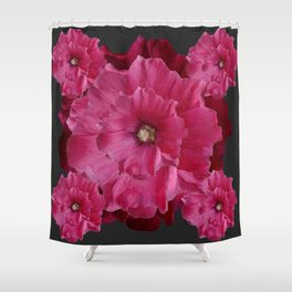 FUCHSIA-PINK  DOUBLE  HOLLYHOCK FLOWERS GARDEN Shower Curtain