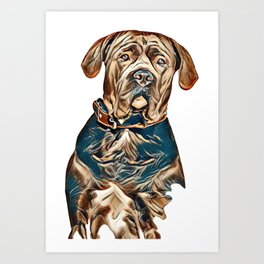 Portrait of a sad dog. Muzzle in full face. In isolation.        - Image Art Print