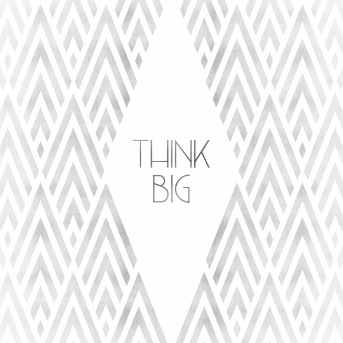 Graphic Art THINK BIG | silver Duvet Cover