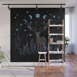 Deer in Winter Night Forest Wall Mural