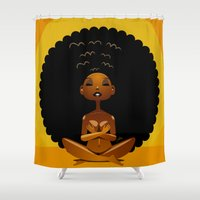 spiritual Shower Curtains featuring Spiritual AfroGirl by Pweety Sexxay