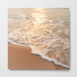 Asymmetrical Glow: Beautiful Afterglow Evening Sunset Relaxing, Peaceful Seashore Metal Print