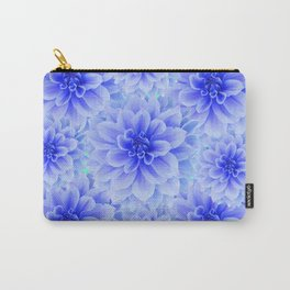 BLUE-WHITE DAHLIA FLOWERS IN  TEAL COLOR Carry-All Pouch