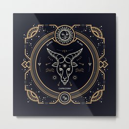 Capricorn Zodiac Gold White on Black Background Metal Print