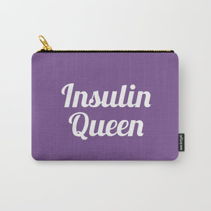 Insulin Queen Script (Royal Lilac) Carry-All Pouch by casualtygirl