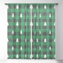 Golden Christmas Tree Buffalo Plaid Winter Xmas Pattern (green and black) Sheer Curtain