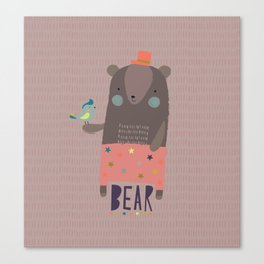 Big Bear and Bluebird Pink Canvas Print