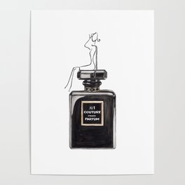 Black parfum with girl Poster