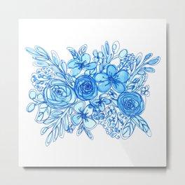Blue Floral Bouquet Monochrome Watercolor Metal Print
